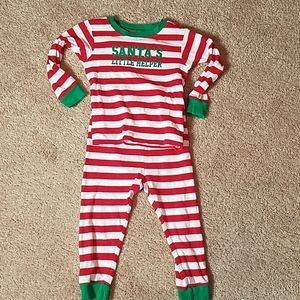 Carter's size 18 mo. red striped Christmas pajamas
